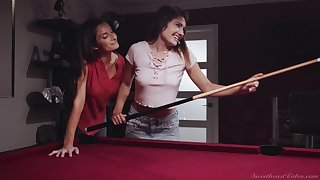 On the qui vive lesbian Silvia Saige is fucking young joyless chiefly the billiard table