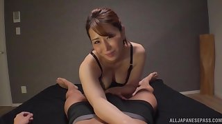 Beautiful wife Kururugi Mikan pleasures their way man with their way oral skills