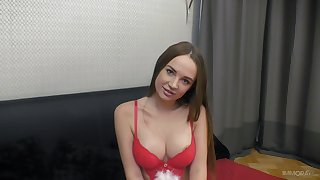 Casting babe reveals pussy and tits in absolute POV tryout