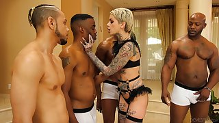 Four black guys fuck all holes of tattooed white babe Leigh Swart