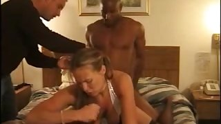 That's what you call a real fuck coupled with this slut loves interracial MMF threesomes