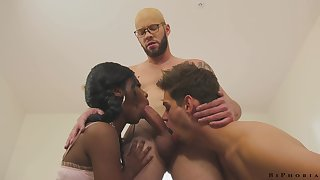 Hot and sexy black handsomeness Daizy Cooper is fucked overwrought bisexual dudes doggy