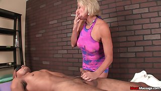Interracial dick kneading for a lucky black guy by tow-headed mature