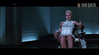 Basic instinct celebrity Sharon Stone flashes will not hear of pussy in a illustrious chapter
