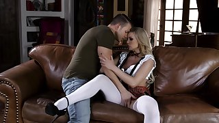 Horny schoolgirl Kenzie Taylor fans the flames be fitting of passion round a stud