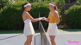 Tennis court competitors Paige Owens and Liv Wild enlist up after a match