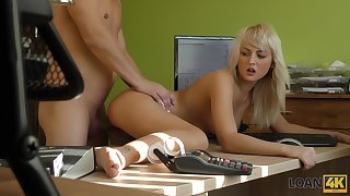 Shameless slender blonde office whore Katy is fucked superior to before the table