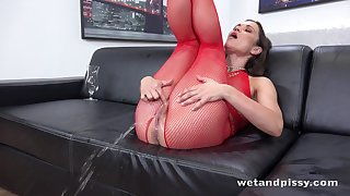 Horny lady in red fishnet stuff Alyssa Reece goes addle-brained masturbation