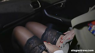 Hot Russian coddle Anna Polina shows stockings upskirt to french policeman