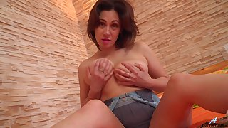 Big titted, brunette, Sara is in the mood for an dangerous orgasm, while alone at home