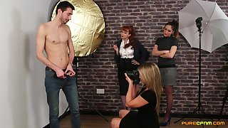 Skinny man gets undressed and filmed away from Samantha and Sienna
