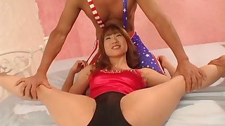 Wild MMF threesome with trimmed pussy Asian hottie Mion Ayase