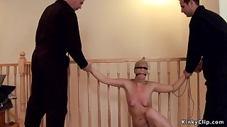 Intruders shagging tied blond hair lady in rope