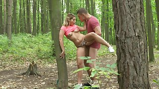 Hard sex in the forest for a young festival during her walk