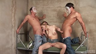 Two guys in masks have fun relative to Sue, a cute, anal-loving blonde bimbo
