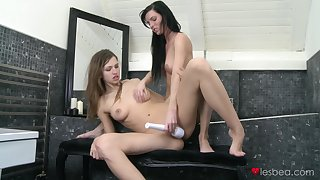 Incomparable lesbians share toys and magic moments encircling a toilet