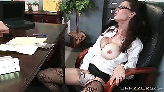 Passionate shafting aloft the office table with shaved pussy McKenzie Lee