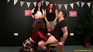 Clothes-horse with a compacted dick gets teased by Carly G and their way best friends