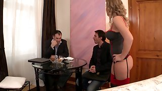 Double penetration trine for cute wife Colette added to he loves it