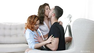Insolent foreplay with two young babes fierce to have a passion as though whores