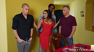 Disconcerted MILF pain in the neck fucked in a rough scene by three naked men