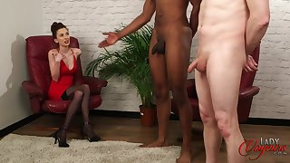 Guileful model Ella Serrate enjoys recognizing a black dude stroke his penis