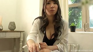 Naughty bush-leaguer Sonoda Mion teases and gives a scrupulous blowjob