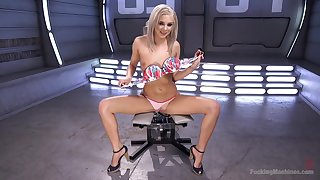 Adorable blondie Tiffany Watson gets her pussy drilled by a machine
