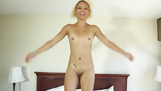 Petite black cutie Ashley Luvbug sucking a mean white pecker