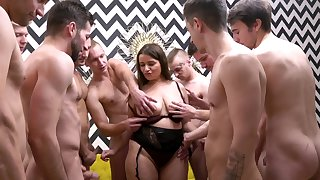 Busty adult slut enjoys getting fucked by lot of unprofessional guys