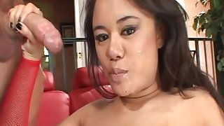 Stunning model Annie Cruz gets fucked by a unstinted white manhood