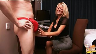 Blonde secretary Tia Layne takes a unearth in her brashness and makes him cum
